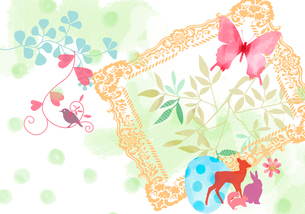蝶と動物達と額縁のイラスト素材 [FYI02311162]