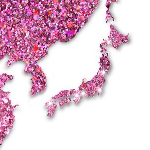 ピンクのラメでつくられた日本地図のイラスト素材 [FYI02311187]