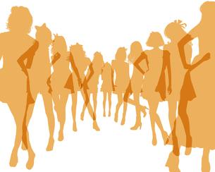 並んだいる女の子のシルエットのイラスト素材 [FYI02311197]