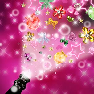 シャンパンの瓶から溢れた星と宝石のイラスト素材 [FYI02311250]