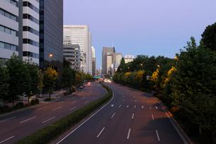 早朝の青山通りと高層ビル群の写真素材 [FYI02311259]
