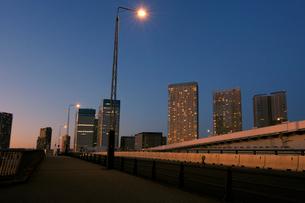 夕暮れの晴海大橋の歩道と有明通りの写真素材 [FYI02311311]