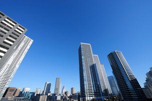 快晴の空にそびえる高層タワーマンション群の写真素材 [FYI02311338]