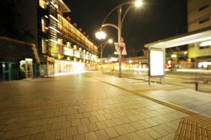 深夜の上野公園山下の石畳の歩道の写真素材 [FYI02311358]
