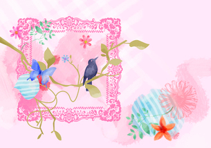 木にとまる鳥と蝶と額縁のイラスト素材 [FYI02311521]