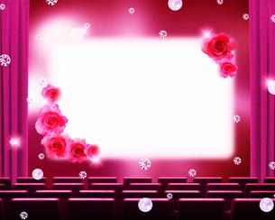 ピンクの緞帳と花の舞台のイメージのイラスト素材 [FYI02311563]