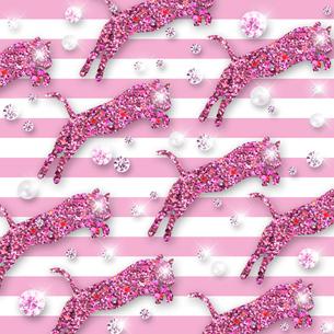 ピンクの虎とボーダーのイラスト素材 [FYI02311627]