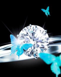 ダイヤモンドリングと蝶のイラスト素材 [FYI02311659]