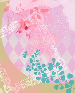 蝶と植物と額縁のイラスト素材 [FYI02311819]