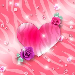 ピンクの虎柄とハートとバラのイラスト素材 [FYI02311823]