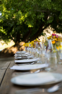 Placesettings in a row for harvest dinner on long patio tableの写真素材 [FYI02311836]