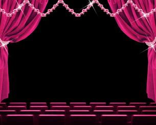 ピンクの緞帳と舞台のイメージのイラスト素材 [FYI02311847]