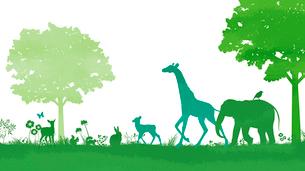 自然の中を歩く動物のイラスト素材 [FYI02311853]