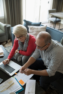 Senior couple with credit card and laptop paying bills online in living roomの写真素材 [FYI02313663]
