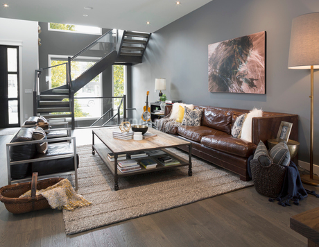 Home showcase interior living room and staircaseの写真素材 [FYI02314242]