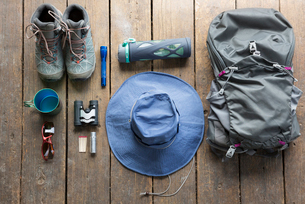 Still life hiking backpack, boots and equipmentの写真素材 [FYI02316164]