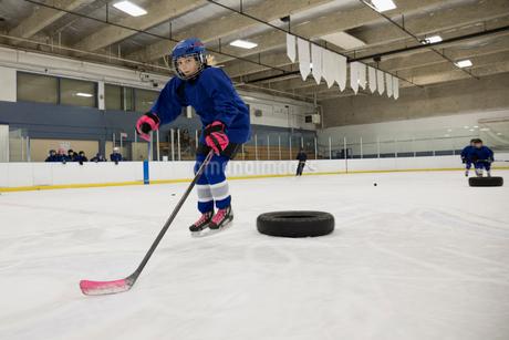 Girl ice hockey player practicing drills on ice hockey rinkの写真素材 [FYI02316423]