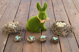 Grass Easter bunny and Easter egg candies in nestsの写真素材 [FYI02318552]