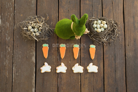Knolling of grass Easter bunny and Easter egg candies in nestsの写真素材 [FYI02318569]