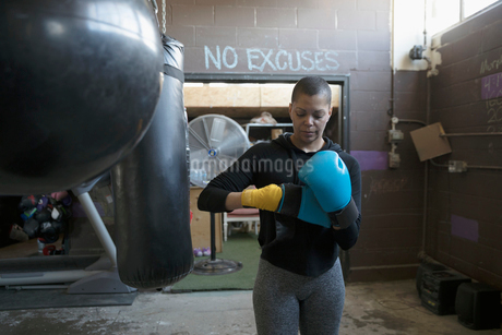Female boxer putting on boxing gloves at punching bag in gritty gymの写真素材 [FYI02318818]