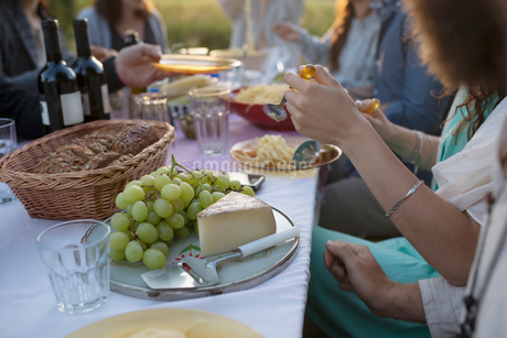 Grapes and cheese on platter at garden party dinner tableの写真素材 [FYI02320576]