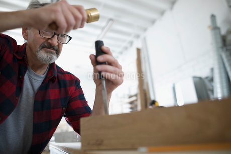 Male carpenter tapping chisel tool on wood block at workbench in workshopの写真素材 [FYI02321010]