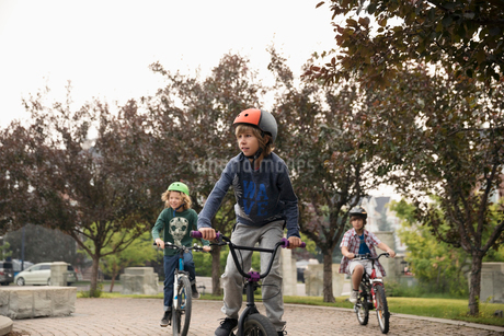 Boy friends riding bicycles in parkの写真素材 [FYI02321304]