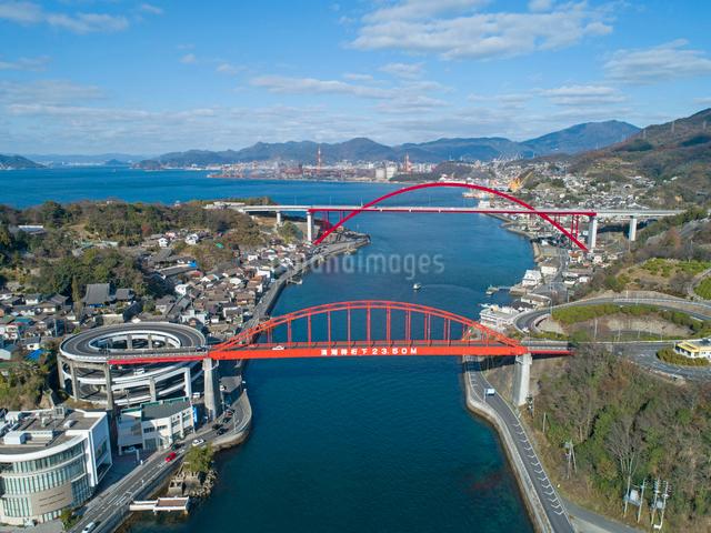 ドローンによる音戸大橋と第二音戸大橋の写真素材 [FYI02324634]