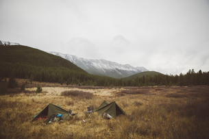 Hunting campsite tents in remote field below mountainsの写真素材 [FYI02325485]