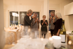 Senior couple friends smelling wine, enjoying wine tasting partyの写真素材 [FYI02325900]