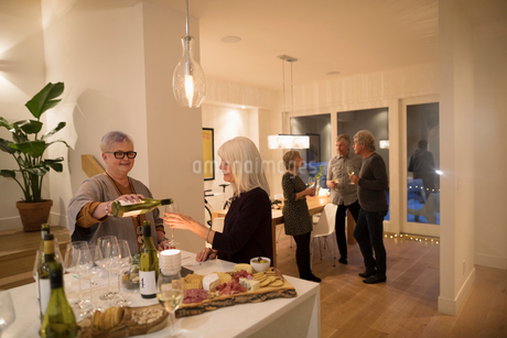 Senior woman pouring wine for friend at wine tasting party social gatheringの写真素材 [FYI02325931]
