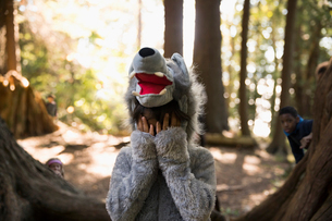 Portrait shy boy in wolf costume hiding head in hands in woodsの写真素材 [FYI02326203]
