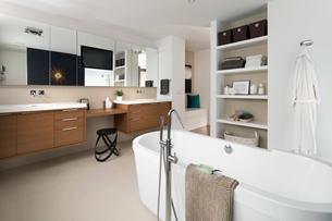 Home showcase modern bathroom with soaking tubの写真素材 [FYI02326517]