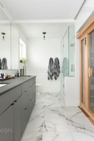 Modern home showcase bathroom with marble tile floorの写真素材 [FYI02326961]