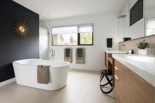 Home showcase modern bathroom with soaking tubの写真素材 [FYI02327100]