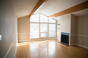 Sunny empty living room with hardwood floors and fireplaceの写真素材 [FYI02327417]