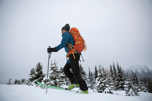 Male skier skiing in remote snowの写真素材 [FYI02327626]