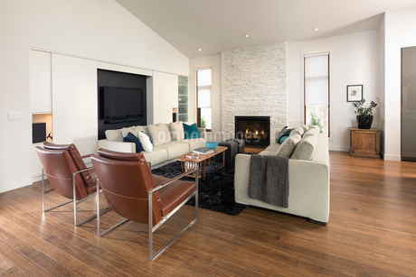 Home showcase living room with fireplaceの写真素材 [FYI02327800]