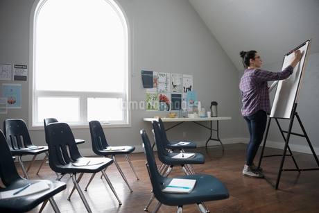 Woman at whiteboard preparing for support group in community centerの写真素材 [FYI02329005]