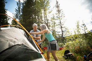 Mature couple setting up tent at sunny forest campsiteの写真素材 [FYI02331456]