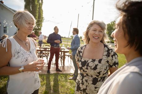 Women friends talking at wedding reception in sunny rural gardenの写真素材 [FYI02331940]