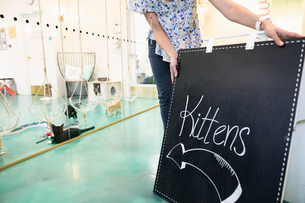 Business owner placing Kittens sign outside cat cafeの写真素材 [FYI02333760]