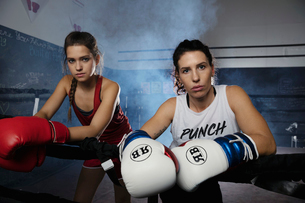 Portrait tough female boxers in boxing ringの写真素材 [FYI02333909]