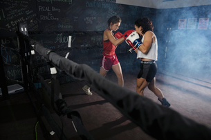 Tough female boxers training in boxing ringの写真素材 [FYI02334000]