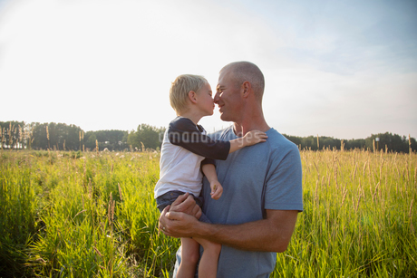 Affectionate father and son rubbing noses in sunny, rural fieldの写真素材 [FYI02334595]