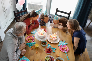 Multi-generation family celebrating toddler girl s birthday at dining tableの写真素材 [FYI02334995]