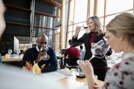 Female sommelier leading wine tasting in restaurantの写真素材 [FYI02335334]