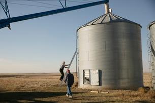 Farmer climbing silo ladder on sunny farmの写真素材 [FYI02335567]