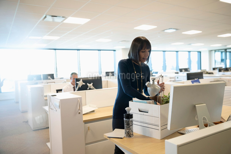 Businesswoman unpacking belongings on first day in new officeの写真素材 [FYI02335716]