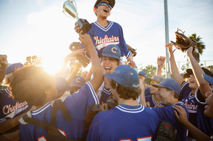 Excited baseball team with trophy celebratingの写真素材 [FYI02336621]